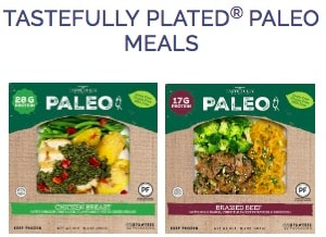 Screenshot of the Tastefully Plated website, showing two of their 3 meal offerings on the market currently. Sometimes thought of as Paleo brand frozen meals, Tastefully plated Walmart frozen meals are some of the few meals sold in the Walmart freezer aisle.