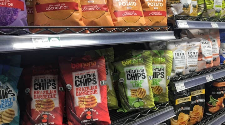 chips aisle at whole foods showing banana/plaintain chips